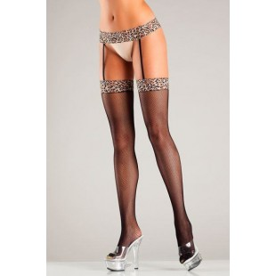 BeWicked Lingerie - LEOPARD FISHNET GARTERBELT STOCKINGS (DTBW714)