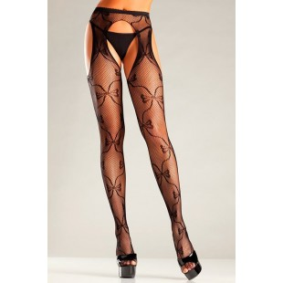 BeWicked Lingerie - BOW LACE SUSPENDER PANTYHOSE (TBW669B)