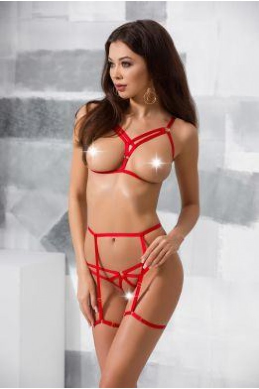 MAGALI SET WITH OPEN BRA red - Passion