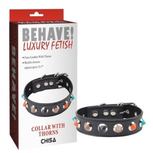 Нашийник - Behave! Collar With Thorns Black