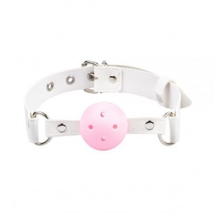 Кляп BDSM-NEW Breathable ball gag plastic, white-pink