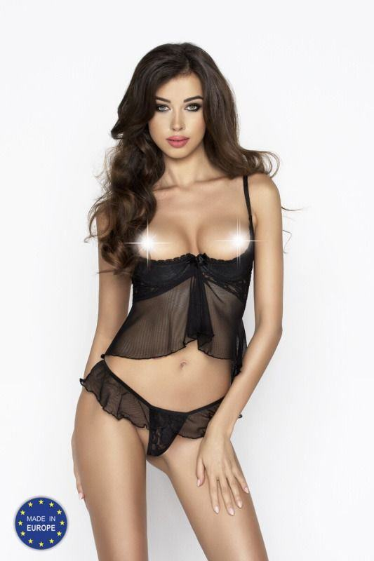 IMAGINE SET WITH OPEN BRA black - Passion Размер XXL/XXXL