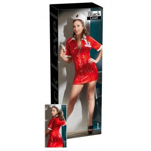 2851083 Vinyl Nurse Dress red