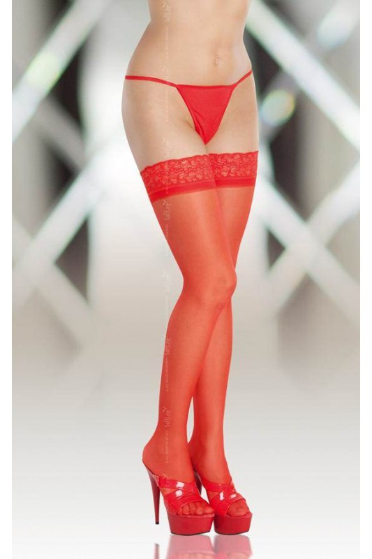 Чулки - Stockings 5514, Plus Size, red Размер 2