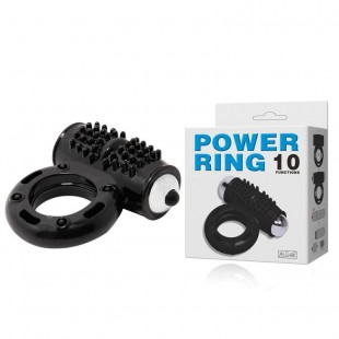 Эрекционное кольцо - Cock ring, powerful 10-function vibration, Black, 2,8x6,5cm